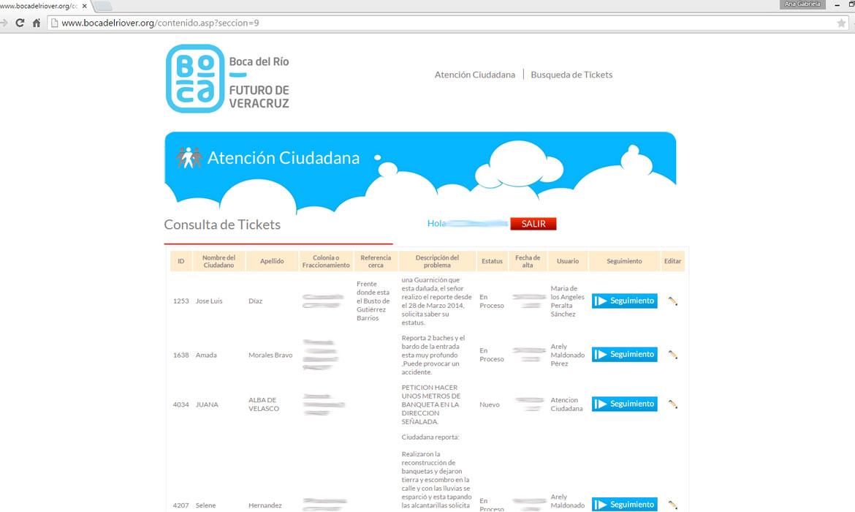 Listado de tickets pendientes, Boca del Río