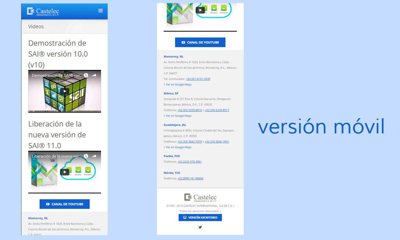 Versión móvil del sitio, videos