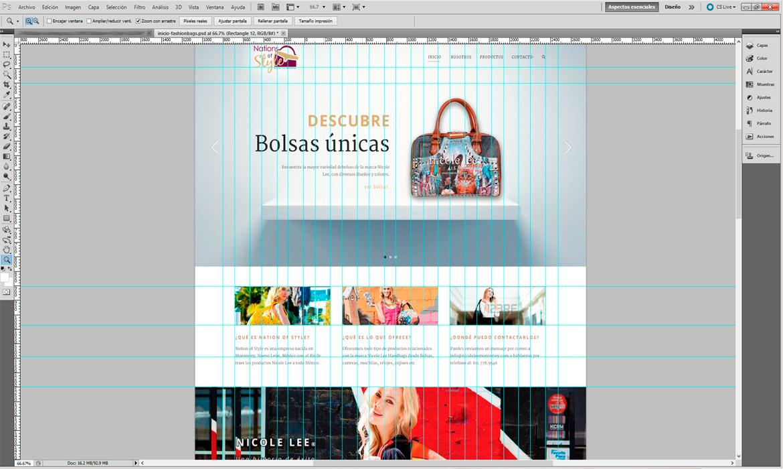 Diseño de la página en Photoshop